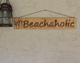 Beach Sign beach art beach decor wood sign Beach wall art ocean and beach living 5.5x30x.75