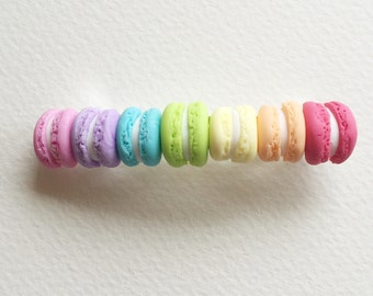 Rainbow macaron hairslide