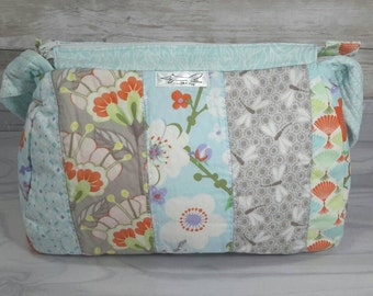 Patchwork handbag, Oriental influence, purse, evening, special occasion, Christmas gift, dragon flies, flowers, grey, blue