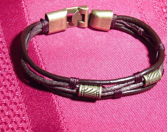 Unisex Braided Leather Bracelet - New - Never Worn - Very Pretty And Or Masculine - 8 Inches Long -  FREE SHIPPING.
