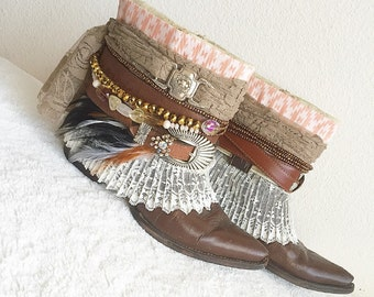 Gypsy Boots, Upcycled Vintage Boots, Boho Boots, Re Worked Cowboy Boots, Festival Boots, Custom Boots