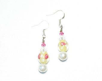 ON SALE White with Pink Glass & Crystal Earrings