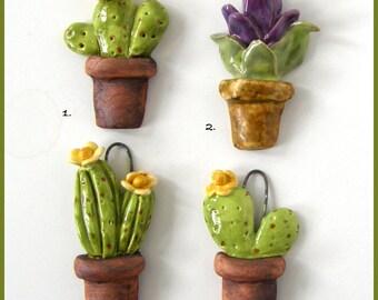 Ceramic cactus pendant