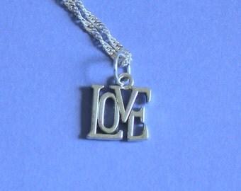 Silver Love Charm Pendant Silver Necklace,Tibetan Silver Charm,Love Pendant,Silver Chain,Silver Pendant,Silver Jewellery,Love Necklace,Love