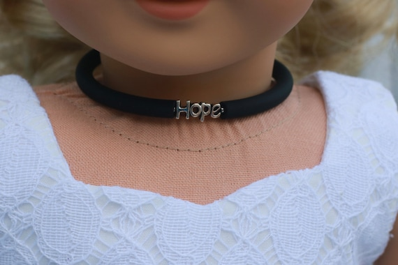 Doll Accessories | HOPE Charm CHOKER NECKLACE in Black or Frosted White for dolls such as American Girl Doll