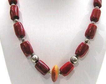 Handmade Coral Necklace with Vintage Mexican Silver Beads
