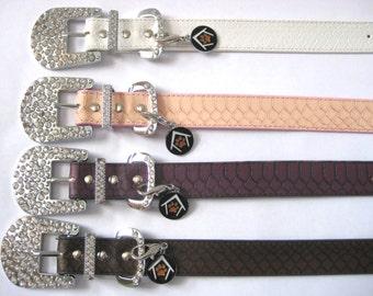 Snakeskin Bling Big Dog Collar- Pale Pink Salmon, White, Vintage Brown, - Thick Dog Collar