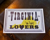 Virginia is for Lovers - Letterpress Broadside - Typography Poster