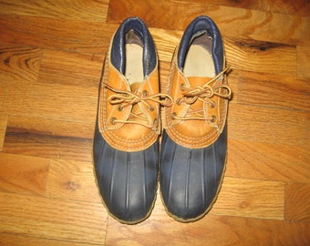 Vintage LLBean Maine Hunting Shoe Blue Tan Rubber Leather Laced Semi Distressed Duck Boots Made In USA Size 8