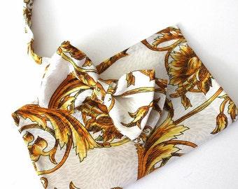 bow tie,mens bow,bow,handkerchief,white,gold,,set