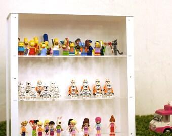 White Cabin Brick Mini figure Display Case