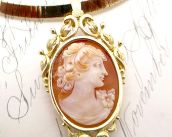 Fine victorian 44 14k gold rolo link necklace and slide vintage 14k gold cameo pendant pin victorian style 14k yellow gold carved shell cameo art nouveau aloadofball Images