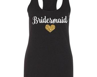 Bridesmaid Tank Tops, Black Bridesmaid Tank Top, Bridal Party Shirts, Wedding Tank Tops, Tank Tops, Bridesmaid Gift, Bridesmaid Gift