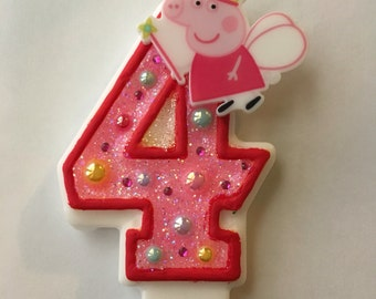 Peppa pig birthday candles. Pig candles. Pig party.Any number available (0 to 9)