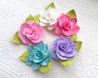 Lace Felt Flower Headband or Hair Clip