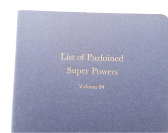 Super Powers - Large Funny Letterpress Journal, Jotter, Cahier, Moleskine - A5 Lined Notebook