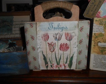 handmade sewing caddy garden trug tulip flowers decoupage recycled wood ropework jute handle cover