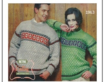 Nordic Fair Isle Sweaters 1960's Vintage Knitting Pattern  – PDF Knitting Pattern - Instant Download