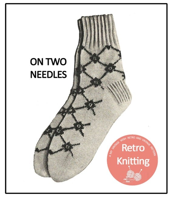 Fair Isle Bobby Sock Vintage Pattern - PDF Instant Download from ...