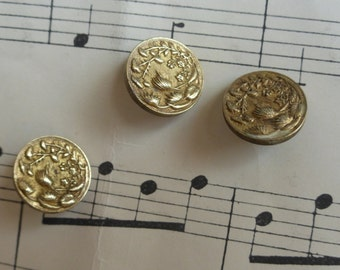 Beautiful Antique 19th C French Brass Buttons Paris Brevete Back Mark