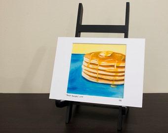 Pancake Art Print, Matted to fit a 5x7 frame, Kitchen Art