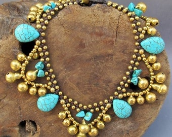 Ring Ring Summer Ankle Bracelet with Stones