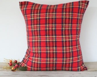 Christmas Pillow cover, Red Plaid Flannel Pillow, Tartan Royal Stewart Pillow Cover, Plaid Christmas Pillow Case, Plaid throw pillow, Custom
