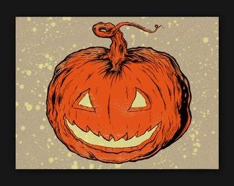 9x12 Bleach Bombed Pumpkin Screen Print