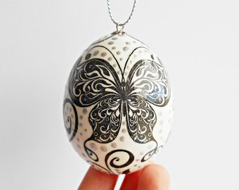 FREE SHIPPING, Handmade egg, Chicken egg shell, Easter home decorations, Easter decor, Butterfly, Pysanka, Pysanky, White, Black, Silver