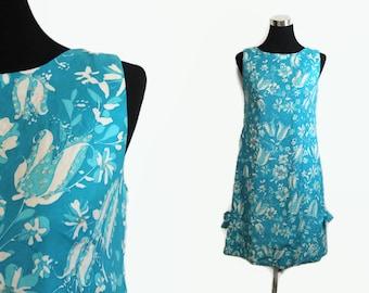 60s Beaded Dress / 1960s Shift Dress / 60s Hawaiian Dress Blue S / Sequin Dress Sleeveless