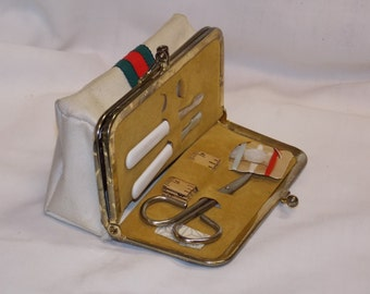 Vintage 1970's Canvas Travel Manicure Cuticle Mirror Sewing Kit Makeup Bag Green and Red Stripe