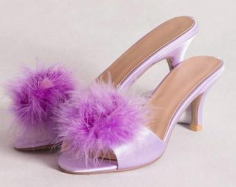 Vintage style kitten heel slipper lavender