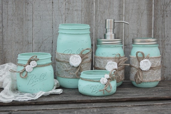 Mason jar bathroom set mint green shabby by thevintageartistry for Sea green bathroom accessories