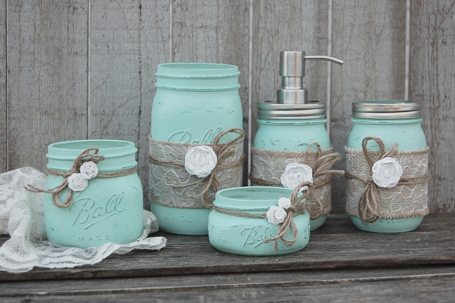 Mason jar bathroom set mint green shabby chic soap for Blue and grey bathroom sets