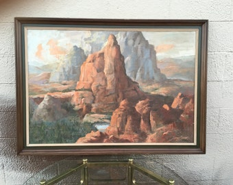 Antique original signed desert mountain landscape painting by Herbert Cook (1844-1920)