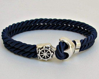 Mens Anchor Bracelet, Nautical Rope bracelet Cuff,  Customized On Your Wrist