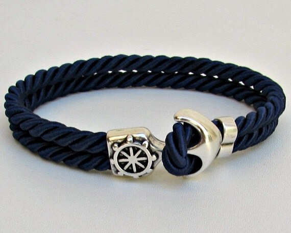 Mens Anchor Bracelet, Nautical Rope bracelet Cuff,  Customized On Your Wrist