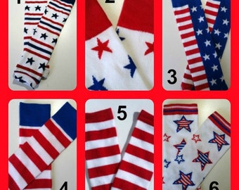 4th of July Leg Warmers, CHOOSE ONE PAIR, Baby Legwarmers, Stars and Stripes Legwarmers, Red and White Leg Warmers, 4th of July Leggings