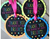 Girl Neon Birthday Party favor tags.  Set of 18.  Party decor/ decorations. Fully assembled and customizable.