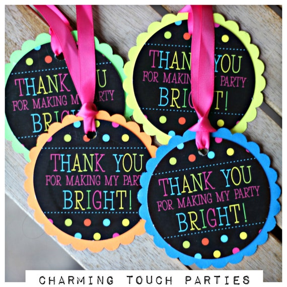 NEON BIRTHDAY FAVOR tags Neon Party Decorations Glow Party 80s