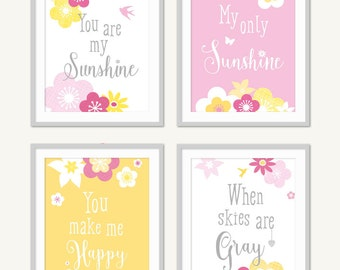 You Are My Sunshine Wall Art, Yellow Pink Girls Decor, Girls Sunshine Print, Floral Nursery, Playroom, Toddler Tween Decor for Girls