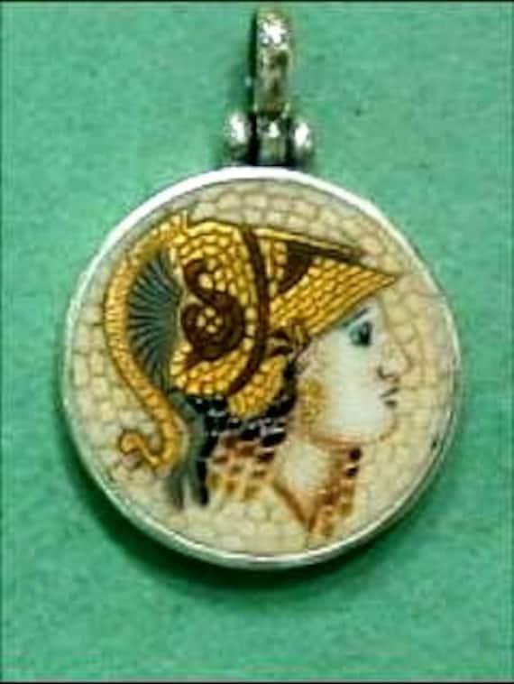 Athena Goddess pendant mosaic symbol of beauty and