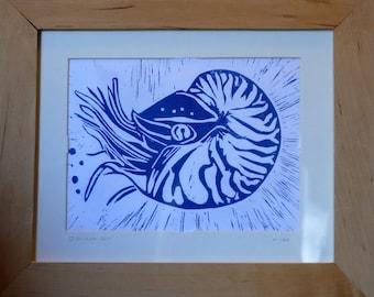 original lino print of nautilus