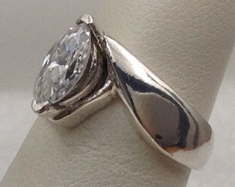 Sterling silver marquise cubic engagement/ fashion ring.