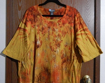 Liz + Me 2X (22/24W) Womens Yellow Orange Brown Gold Leopard Floral Blouse/Top
