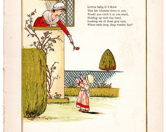 Kate Greenaway chromolithograph Little baby, if I threw / The finest, biggest fish, you see c1880 wall childrens nursery art #00022