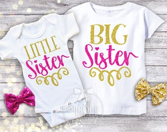 Little Sister Big Sister Shirts, Sibling Shirts, Baby Annoucement, Personalize w/Name, NB - 16, Short or Long Sleeves, Shirt or Bodysuit