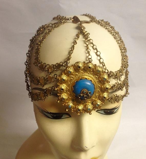 Indian Wedding Headdress: Vintage Gold-tone Faux Turquoise East Indian Wedding