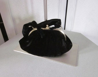 1950s Black Silk Velvet Evening Bag