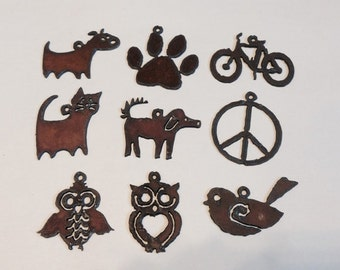 DOG CAT BIKE Bird Peace Paw Owl Pendant any three (3) Charm Cutouts made of Rustic Rusty Rusted Recycled Metal